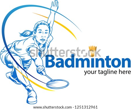 Vector illustrations, sketching or drawing of female badminton players in action as a symbol.