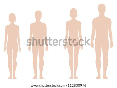 Vector illustrations. Teenager's figures. Change in proportions: 12 and 15 years