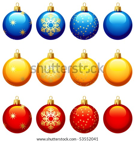 vector illustrations - twelve Christmas glass ball
