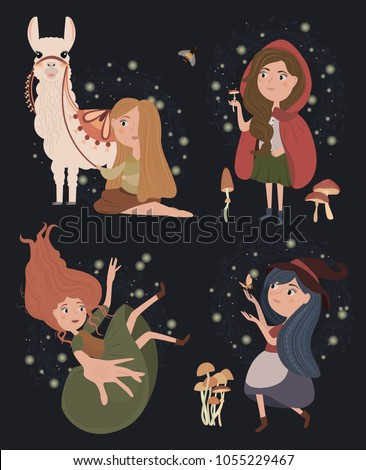 vector illustrations with girl