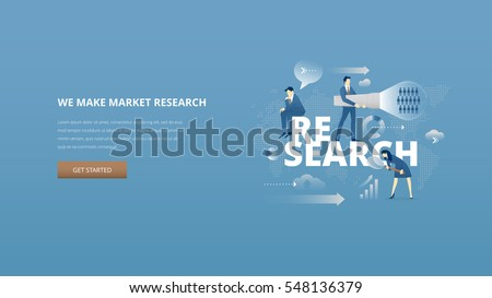 Vector illustrative hero banner of market research. Market research metaphor with men and women business characters around word 'research' over digital world map