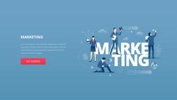 Vector illustrative hero banner of marketing. Marketing hero website header with men and women business characters around words 'marketing' over digital world map
