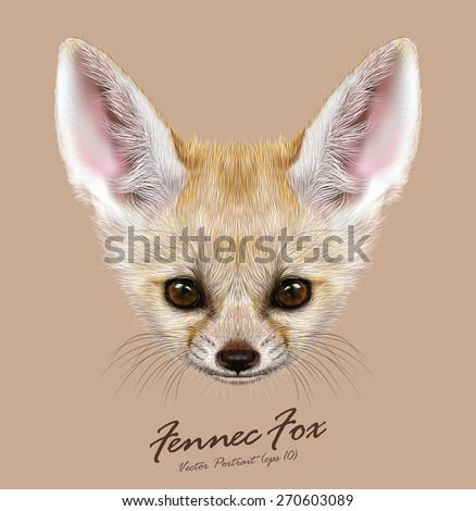 Stock Photo Vector Illustrative portrait of Fennec Fox. Cute face of special African Fox.