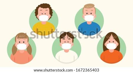 vector illustrator - Families that prevent virus outbreaks by wearing masks