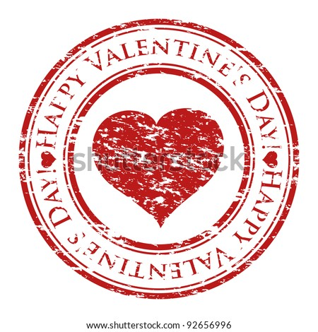 Vector illustrator of a grunge rubber stamp with heart and text (happy valentine's day written inside the stamp) isolated on white background