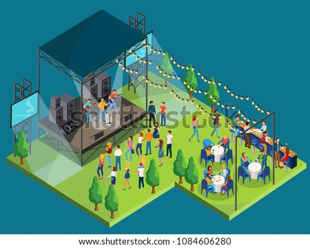 Vector illustrtion of open air concert or festival with music band on the stage, viewers , bar and drinks. Isometric design.