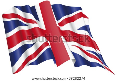 Vector Illuustration of United Kingdom Flag proudly waving