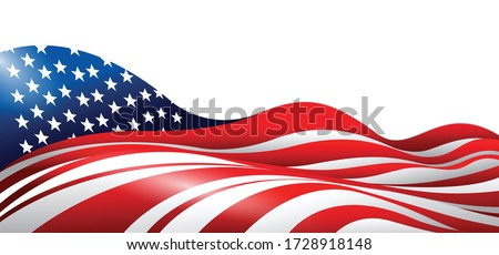 Vector Ilustration of American / USA flag Design. Waving flag. Design for banner, poster, brochure and website.