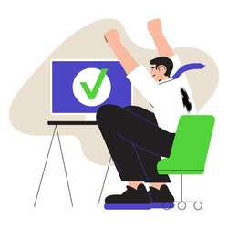 Vector ilustration of happy male worker or businessman completed task and triumphing with raised hands on his workplace. Successful well done work. Completed task concept for ui or web design.
