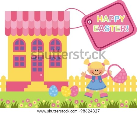 Vector image. A little girl collects Easter eggs in basket