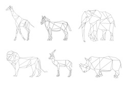 Vector image African animals with lines. Set of geometric low poly illustrations