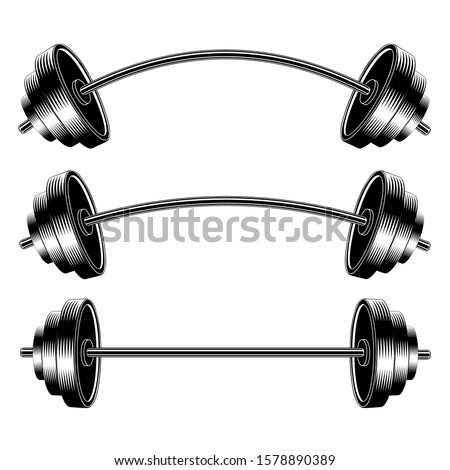 Vector Image Barbell. Barbell set. Curved Barbell. Straight Barbell. Design Element for sports posters.
