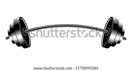 Vector image barbell. Curved barbell. Design element for sports posters.