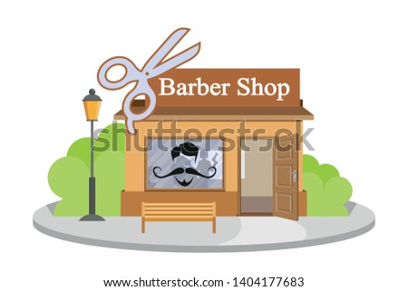 Vector image barbershop. Facade of barbershop isolated on white background. Barber house. Cuts hair building. Barbershop emblem. Vector graphics to design