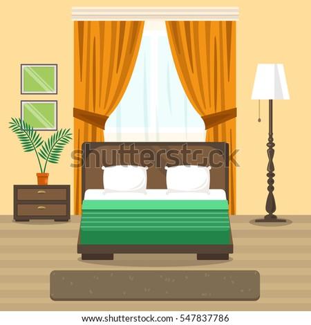 vector image bedroom interior