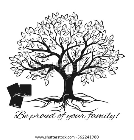 Vector image. Black and white sketch of template of family tree.