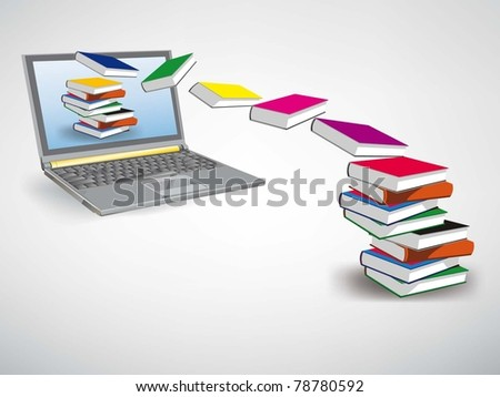 Vector Image, books fly into your laptop