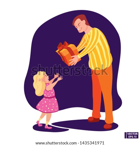 Vector image. Cartoon characters dad gives his daughter a gift. A joyful child receives a great gift.