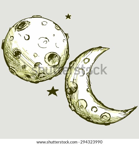 vector image cartoon moon