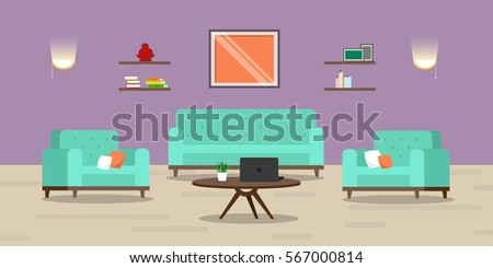 Vector image. Cute room. Living room interior