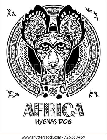 Vector image dog In the African style. African ornament. Hyena dog