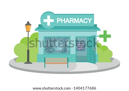 Vector image drugstore. Facade of pharmacy store isolated on white background. Drugstore house. Cartoon pharmacy store building. Drugstore front. Vector graphics to design