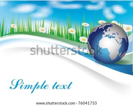 Vector Image. Earth globe in green grass