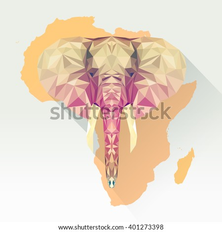 vector image elephant in  flat