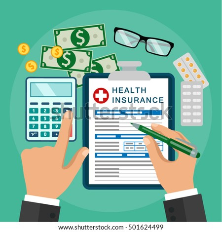 Vector image. Flat design.Clipboard in hand. Man with clipboard. Health insurance. Healthcare concept. Calculation, pricing for medicine costs.