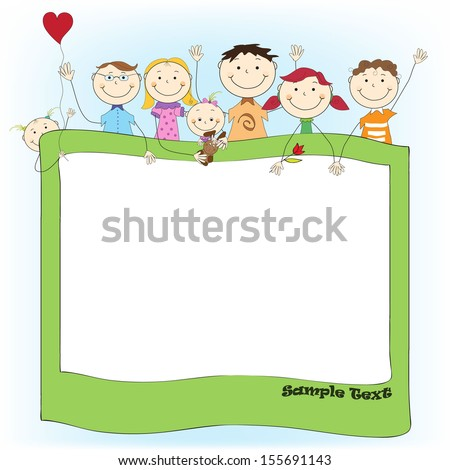 Vector Image Frame Background with Happy Funny Cute Children
