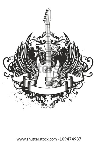 Vector image guitar with wings, patterns and ribbon