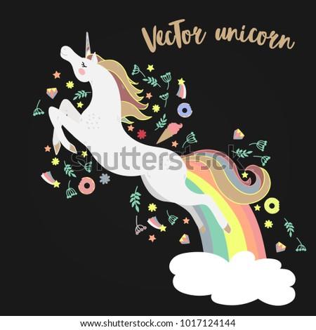 Vector image happy unicorn on black background