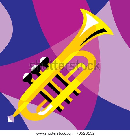vector image horn. Stylization of color overlapping forms.