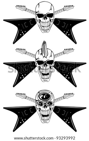 Vector image human skull with the crossed guitars