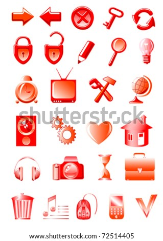 Vector image icons for computer on communications