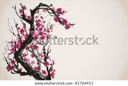 Vector image in Japanese style. Blooming bright red flowers of the tree branch