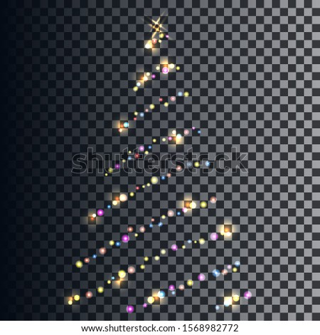 Vector image in the form of translucent neon garlands forming the contour of a Christmas tree. EPS10.