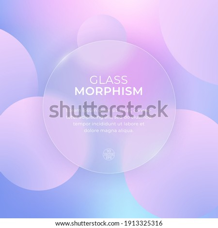 Vector image in the style of glass morphism. Translucent circle on a light background with circles. Frosted transparent glass and colored colorful circles. Place for your text.