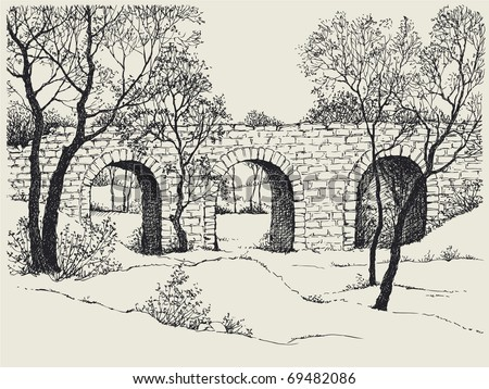 Vector image. Landscape sketch of an old stone bridge in the trees on the hills