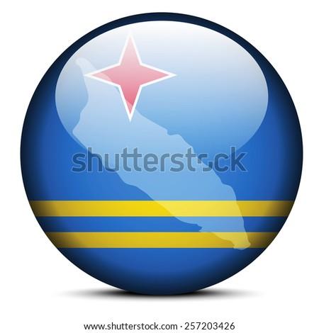 Vector Image - Map on flag button of Aruba