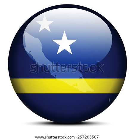 Vector Image - Map on flag button of Curacao