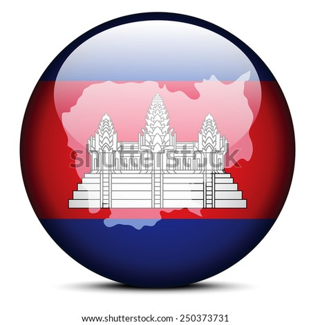 Vector Image - Map on flag button of Kingdom of Cambodia