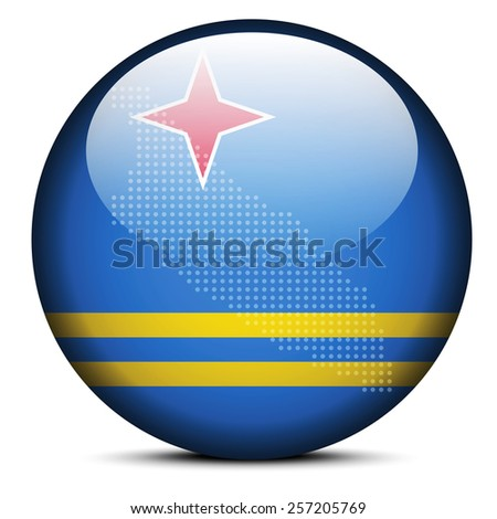 Vector Image - Map with Dot Pattern on flag button of Aruba