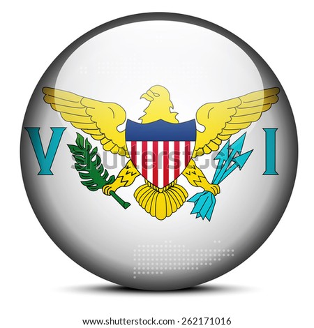 Vector Image -  Map with Dot Pattern on flag button of United States Virgin Islands