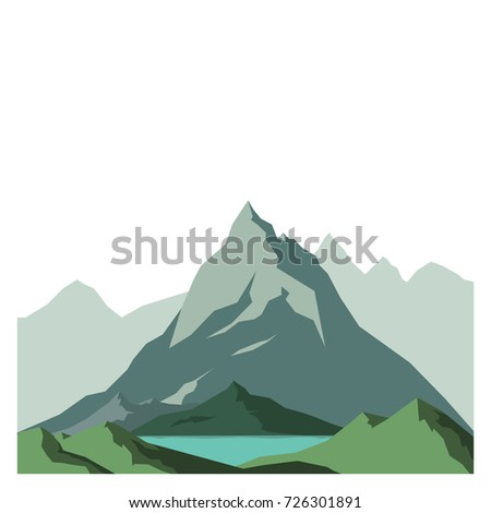 vector image mountains with a