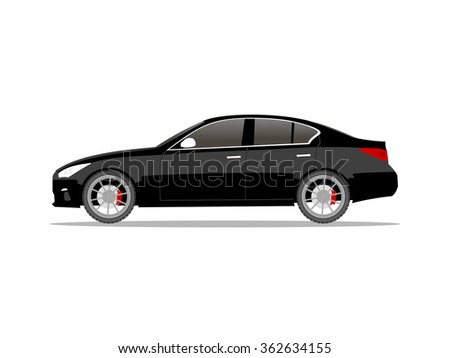 vector image of a black car