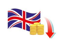 Vector image of a British flag, coins and a downwards arrow