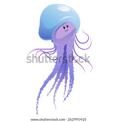 Vector image of a cartoon happy jellyfish