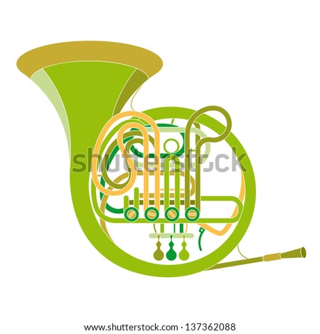Vector image of a classic copper pipe musical instrument