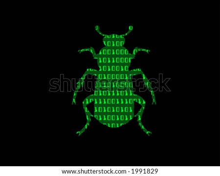 Vector image of a computer bug with a binary code inside the outline